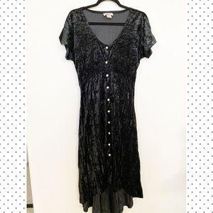 Velvet Maxi Dress w/ Faux Pearl Buttons